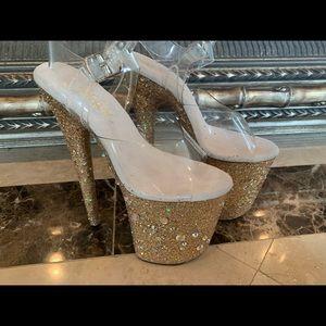 New Custom Gold 8 inch Pleaser Heels Size 5